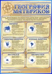 Купить Стенд География материков в кабинет Географии в золотисто-синих тонах 700*1000 мм в России от 2506.00 ₽