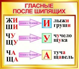 Купить Стенд Гласные после шипящих для начальной школы в золотистых тонах 400*350мм в России от 526.00 ₽