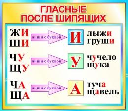 Купить Стенд Гласные после шипящих  в бирюзовых тонах 400*350мм в России от 526.00 ₽