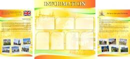 Купить Стенд  Информационный в кабинет английского языка оранжево-желтый большой 2200*1000мм в России от 7272.00 ₽