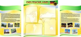 Купить Стенд  Информационный в кабинет немецкого языка желто-зеленый 1500*700мм в России от 3610.00 ₽