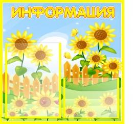 Купить Стенд Информация для группы Подсолнухи  530*500мм в России от 1076.00 ₽