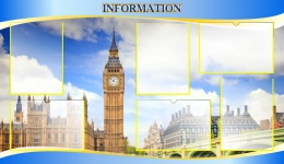 Купить Стенд Information в голубых тонах для кабинета английского языка 1200*700 мм в России от 3638.00 ₽