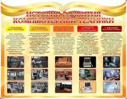 Купить Стенд История развития компьютерной техники в золотисто-оранжевых тонах 1100*850мм в России от 3450.00 ₽