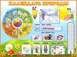 Купить Стенд Календарь Природы, развивающий в группу Пчёлка 800*600мм в России от 2440.00 ₽