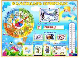 Купить Стенд Календарь Природы, развивающий в морском стиле 800*600 мм в России от 2349.00 ₽