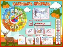 Купить Стенд Календарь Природы, развивающий в группу Морошка 800*600 мм в России от 2349.00 ₽