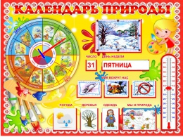 Купить Стенд Календарь Природы в группу Акварельки 800*600 мм в России от 2349.00 ₽
