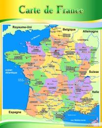 Купить Стенд Карта Франции для кабинета французского языка в золотисто-зелёных тонах 600*750 мм в России от 1607.00 ₽