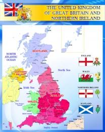 Купить Стенд Карта Великобритании для кабинета английского синий 600*750 мм в России от 1607.00 ₽