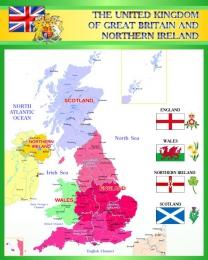 Купить Стенд Карта Великобритании для кабинета английского в зелёных тонах 600*750 мм в России от 1607.00 ₽