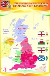 Купить Стенд Карта Великобритании для кабинета английского в золотисто-оранжевых тонах 500*750 мм в России от 1410.00 ₽