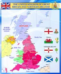 Купить Стенд Карта Великобритании для кабинета английского языка синий 600*750мм в России от 1607.00 ₽