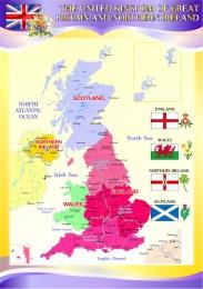 Купить Стенд Карта Великобритании для кабинета английского языка в фиолетовых тонах 750*530 мм в России от 1419.00 ₽