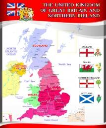 Купить Стенд  Карта Великобритании для кабинета английского языка в красно-серых тонах в стиле Лондон.700*850 мм в России от 2124.00 ₽