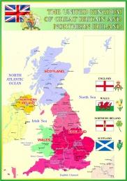 Купить Стенд Карта Великобритании для кабинета английского языка в зеленых тонах 700*1000мм в России от 2632.00 ₽