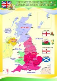 Купить Стенд Карта Великобритании для кабинета английского языка в желто-зеленых тонах 530*750 мм в России от 1419.00 ₽