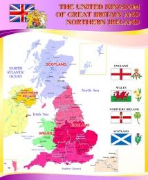 Купить Стенд  Карта Великобритании для кабинета английского языка в золотисто-сиреневых тонах 700*850 мм в России от 2124.00 ₽