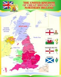 Купить Стенд  Карта Великобритании для кабинета английского языка в золотисто-зелёных тонах 600*750мм в России от 1692.00 ₽