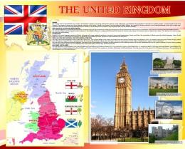 Купить Стенд Карта Великобритании для кабинета английского языка золотисто-бордовых тонах 1250*1000мм в России от 4463.00 ₽