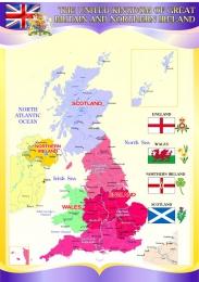 Купить Стенд Карта Великобритании  в фиолетовых тонах на английском языке 750*530 мм в России от 1495.00 ₽