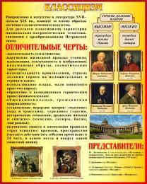 Купить Стенд Классицизм в искусстве и литературе в золотисто-бордовых тонах 400*500 мм в России от 738.00 ₽