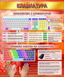 Купить Стенд Клавиатура в золотисто-красных тонах в кабинет информатики 530*630 мм в России от 1232.00 ₽
