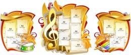 Купить Стенд-композиция для кабинета музыки с изображением барабана и ксилофона 2800*1190мм в России от 11133.00 ₽