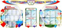 Купить Стенд-композиция Спортивная жизнь школы  в бело-зелёно-красных  с голубым тонах 2850*1300 мм в России от 14296.00 ₽