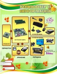 Купить Стенд Компьютер и Информация в золотисто-зеленых тонах для кабинета информатики 850*1100мм в России от 3450.00 ₽