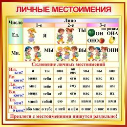 Купить Стенд Личные местоимения  в золотистых тонах 550*550 мм в России от 1080.00 ₽