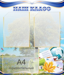 Купить Стенд Наш класс с изображением василькового поля 550*650мм в России от 1631.00 ₽