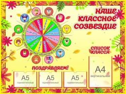 Купить Стенд Наше классное созвездие.Знаки зодиака 1200*900 мм в России от 4791.00 ₽