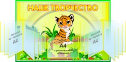 Купить Стенд Наше творчество группа Тигрята, Джунгли с 2-мя вертушками А4 по 7 карманов 950*620 мм в России от 4903.00 ₽