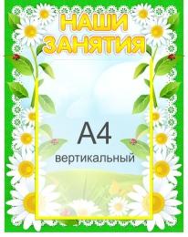 Купить Стенд Наши занятия для группы Ромашка с карманом А4 360*450 мм в России от 689.00 ₽