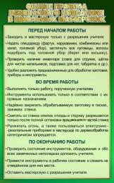 Купить Стенд Общие правила безопасности поведения в школьных мастерских в зеленых тонах 500*800мм в России от 1428.00 ₽