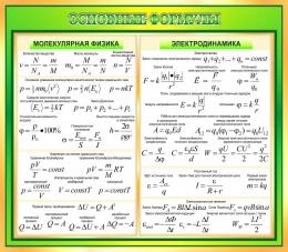 Купить Стенд Основные формулы молекулярной физики, электродинамики в золотисто-зелёных тонах 800*700 мм в России от 1999.00 ₽