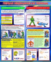 Купить Стенд Первая медицинская помощь в синих тонах 1000*1200мм в России от 4284.00 ₽