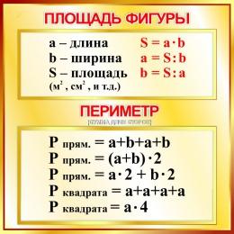 Купить Стенд Площадь фигуры, периметр  для начальной школы в золотистых тонах 550*550мм в России от 1137.00 ₽