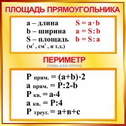 Купить Стенд Площадь прямоугольника, периметр в золотисто-коричневых тонах 550*550мм в России от 1137.00 ₽