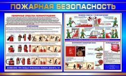 Купить Стенд Пожарная безопасность без карманов  в золотисто-синих тонах 600*1000мм в России от 2256.00 ₽