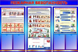 Купить Стенд Пожарная безопасность с боевым расчётом в синих с красным тонах 1600*1000мм в России от 5906.00 ₽