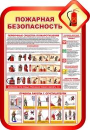 Купить Стенд Пожарная безопасность в золотисто-красных тонах 690*1000мм в России от 2463.00 ₽