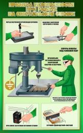 Купить Стенд Правила безопасности при работе на сверлильном станке в зеленых тонах 500*800мм в России от 1428.00 ₽