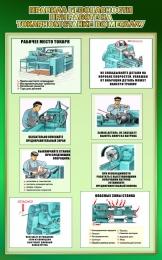 Купить Стенд Правила безопасности при работе на токарном станке по металлу в зеленых тонах 500*800мм в России от 1428.00 ₽