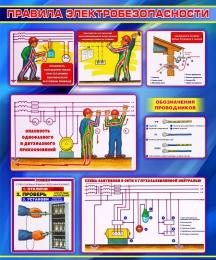 Купить Стенд Правила электробезопасности в синих тонах 1000*1200мм в России от 4296.00 ₽