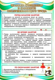 Купить Стенд Правила поведения в кабинете обслуживающего труда в бирюзовых тонах 400*600 мм в России от 886.00 ₽