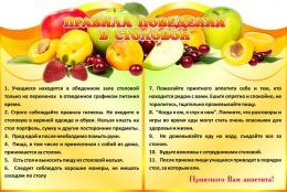 Купить Стенд  Правила поведения  в столовой 1200*800мм в России от 3542.00 ₽