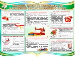 Купить Стенд Правила техники безопасности в кабинете обслуживающего труда в бирюзовых тонах 900*700 мм в России от 2989.00 ₽