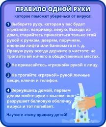 Купить Стенд Правило одной руки, которое поможет уберечься от вируса в фиолетовых тонах 200*240 мм в России от 180.00 ₽